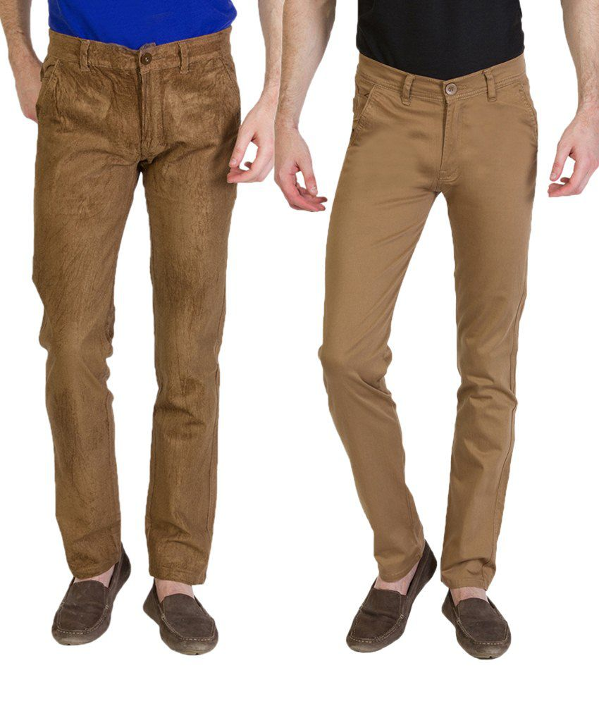 Bloos Jeans Exquisite Combo Of 2 Brown Chinos For Men