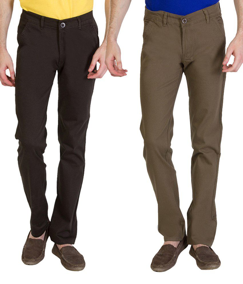 Bloos Jeans Noticeable Combo Of 2 Khaki & Brown Chinos For Men
