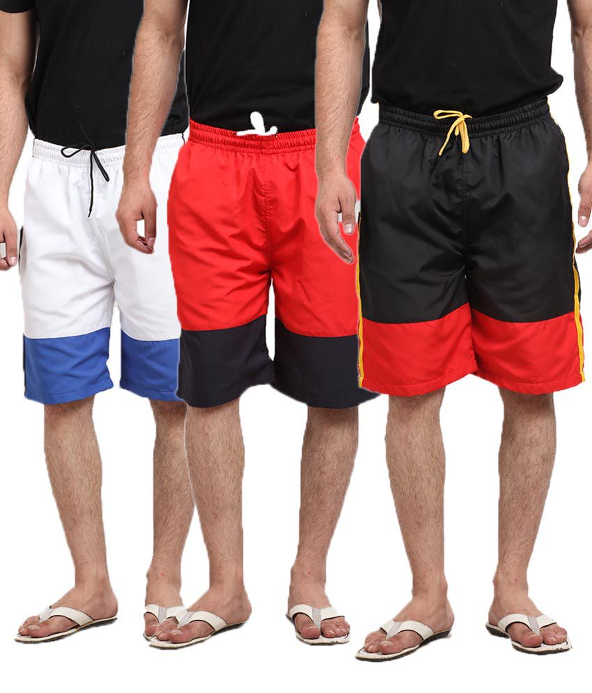 Q-nine Combo Of Black, White and Red Long Shorts For Men