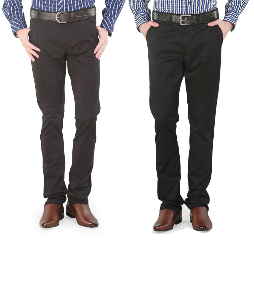 Platinum League Combo Of Brown And Gray Trousers