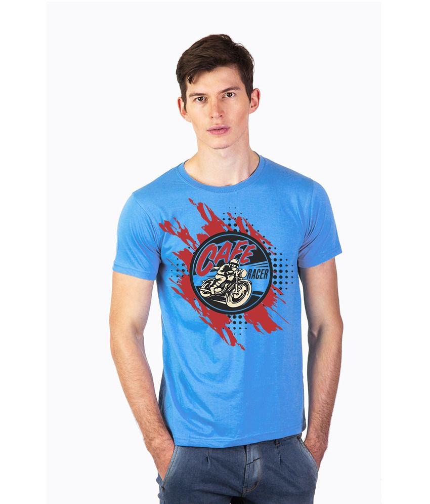 Effit Blue Cotton Round Neck Printed T Shirt
