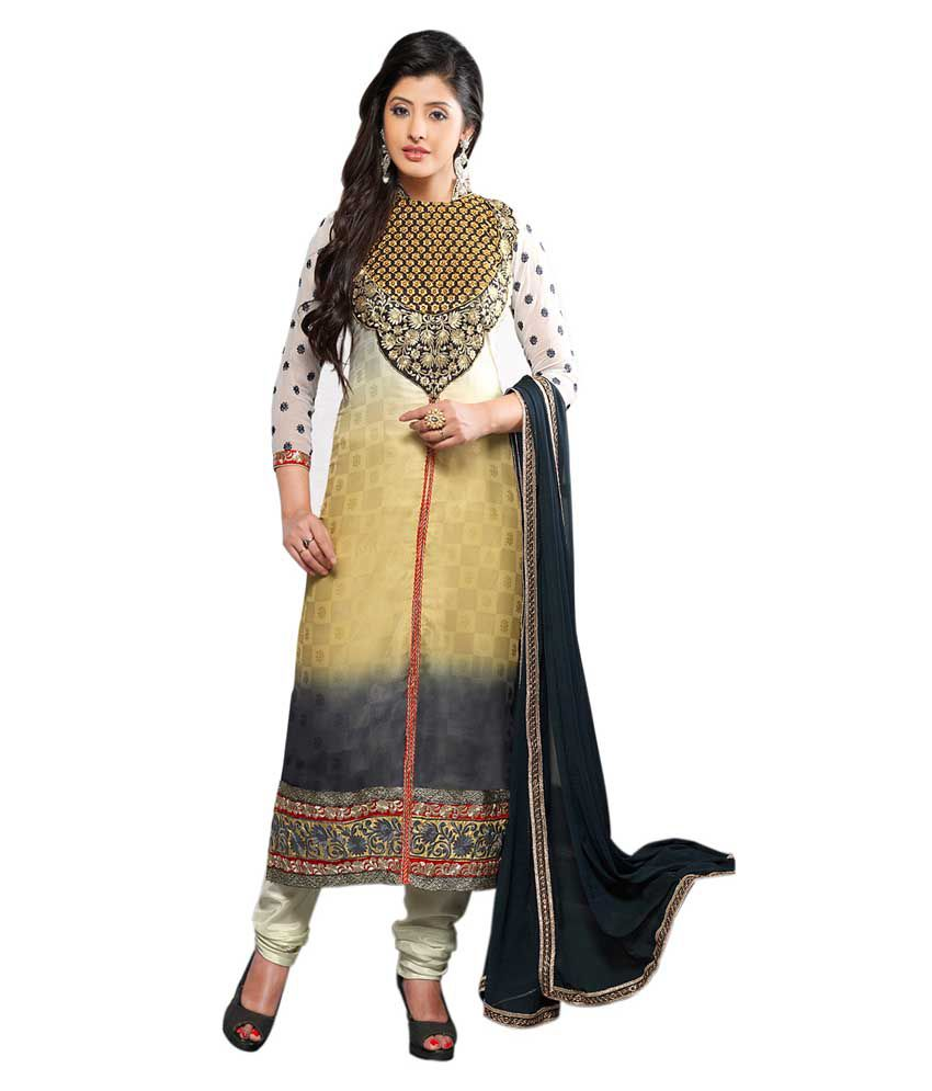 EthnicBasket White Art Crepe Stitched Suit