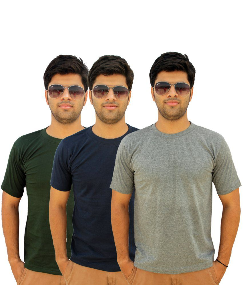 Preist Trading Cotton Basics Half Sleeved Round Neck T-shirt Pack of 3