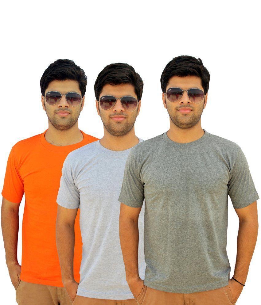 Preist Trading Cotton Basics Half Sleeved Round Neck T-shirt Pack of 3