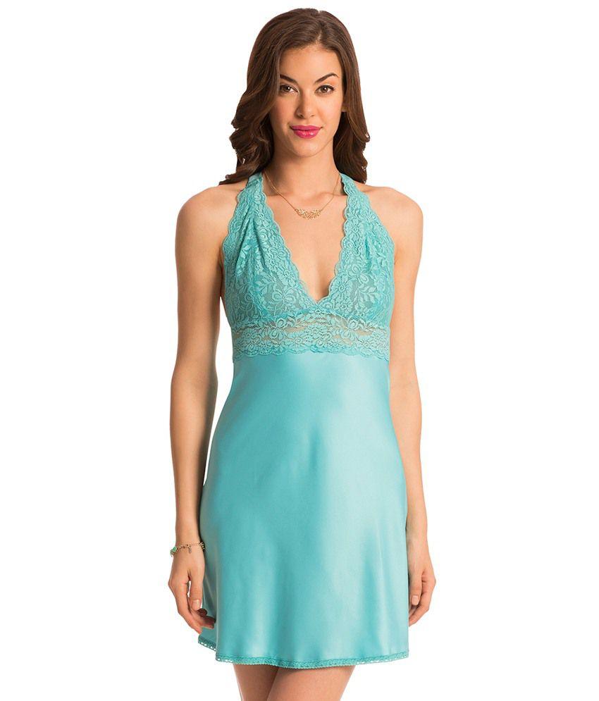 PrettySecrets Blue Polyester Nighty