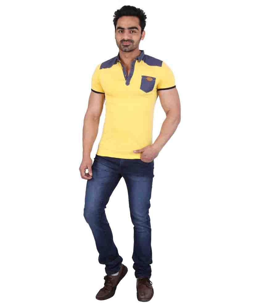 PureSoul Yellow Cotton Blend Round Neck Half Sleeves T-Shirt