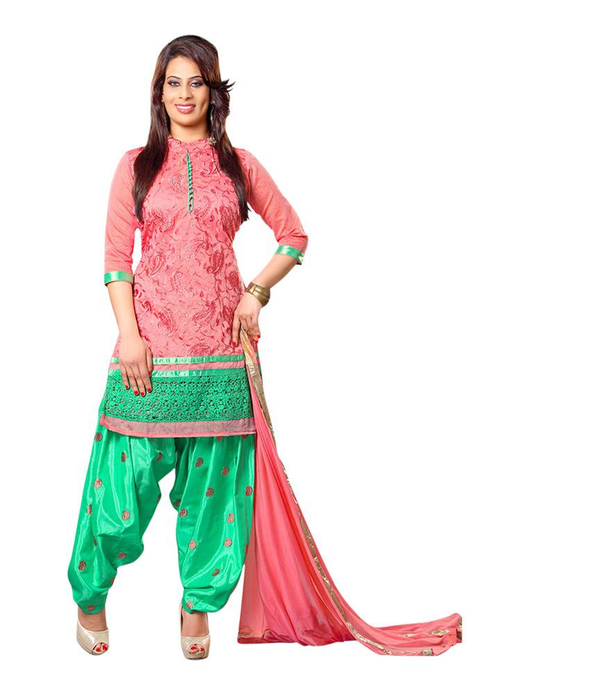 Zabme Pink Chanderi Semi-Stitched Suit