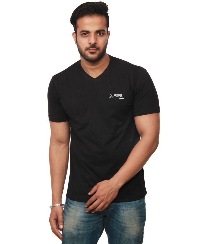 Amstead Black Cotton Half Sleeves V-Neck T-Shirt