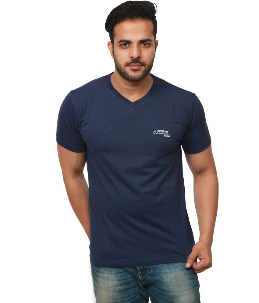 Amstead Navy Cotton Half Sleeves V-Neck T-Shirt