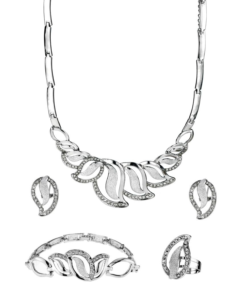 Ruhaani Jewels Style Diva Silver Traditional Alloy Necklace Set