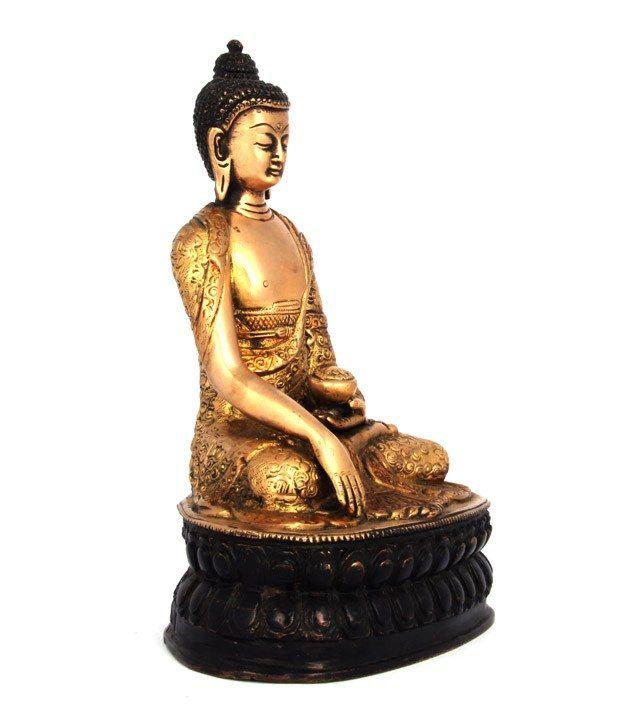 Adaa Yellow Bronze Buddha Idol