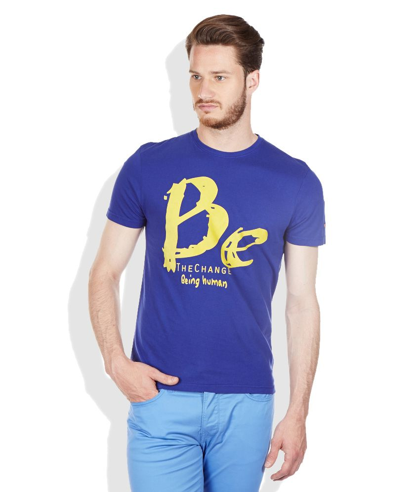 Being human blue round neck t shirt buy being human blue for Buy being human t shirts online