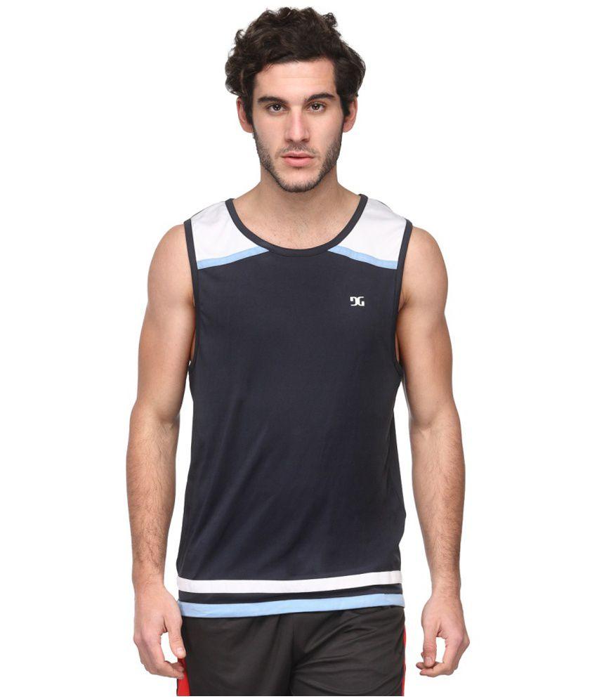Dazzgear Navy Polyester Round Neck Sleeveless T-Shirt