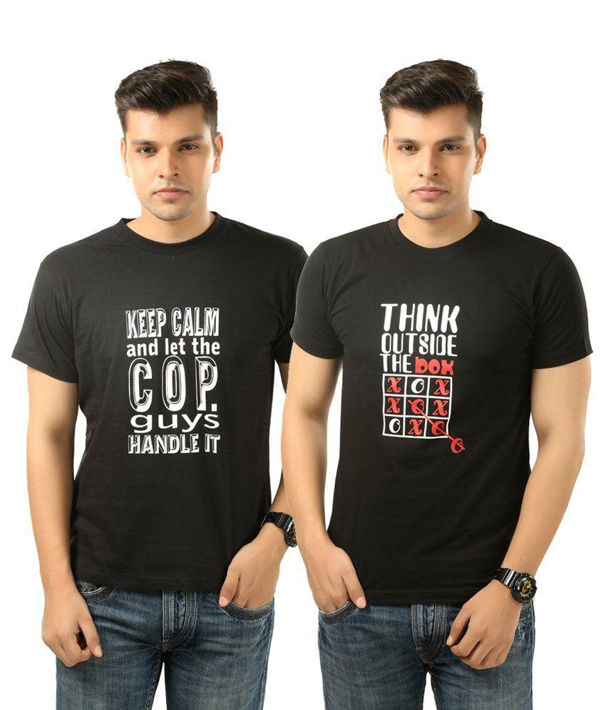 5fdef75dbf1 Posh 7 Combo Of 2 Black Printed College T Shirts For Men - Buy Posh 7 Combo  Of 2 Black Printed College T Shirts For Men Online at Low Price -  Snapdeal.com