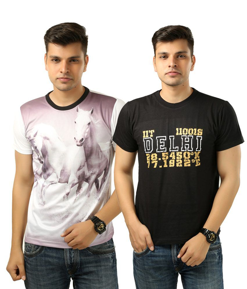 Posh 7 Decent Combo Of 2 Black & White Printed T Shirts For Men