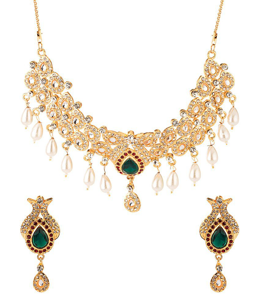 Voylla Necklace Set With Fish Shaped Motifs Embellished With White & Green Stones