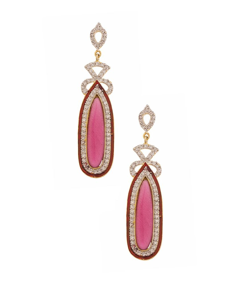 Voylla Pair Of Danglers With CZ & Flirty Red Geometry Drop