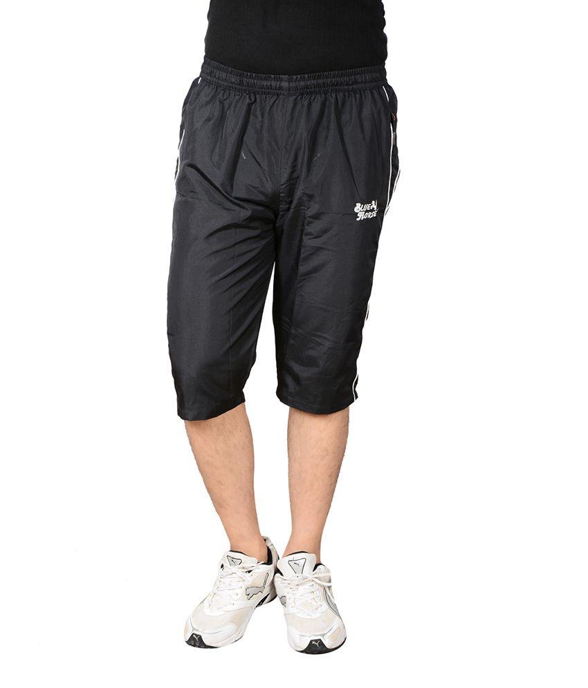 Blue Horse Black Polyester 3/4th Shorts
