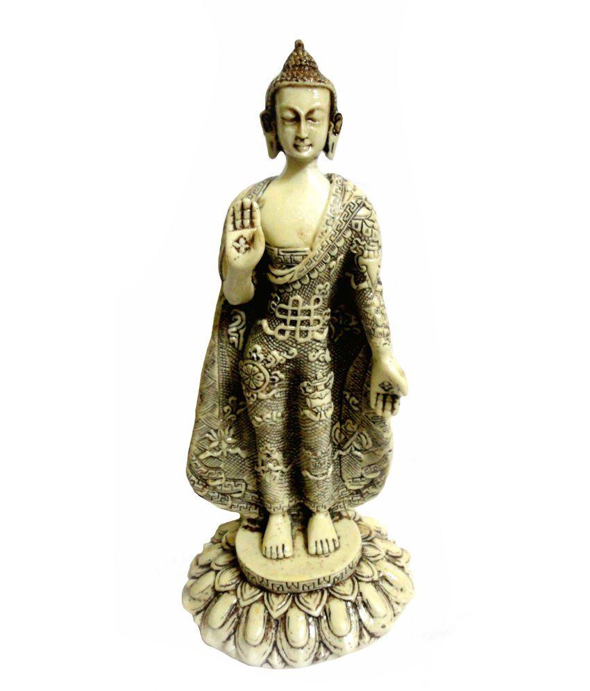 Craft Store India Resin Hand Made Standing Buddha Idol 10x5