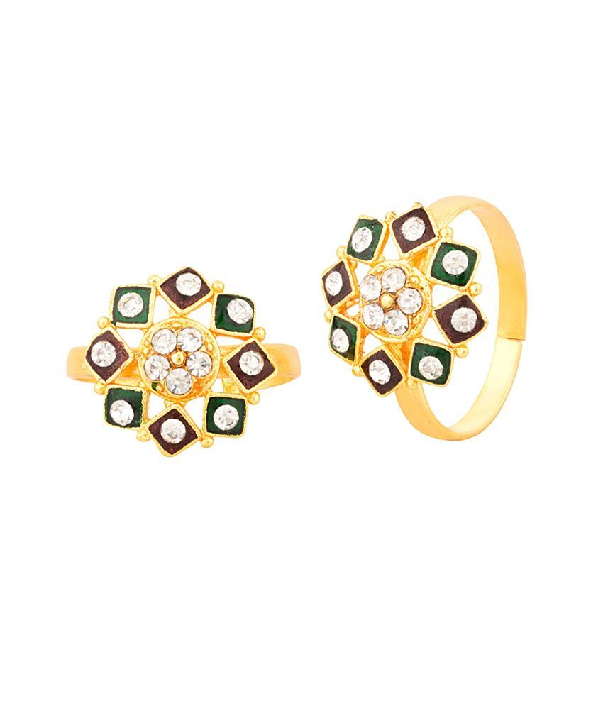 Voylla Pair Of Adjustable Geometric Flower Toe Rings