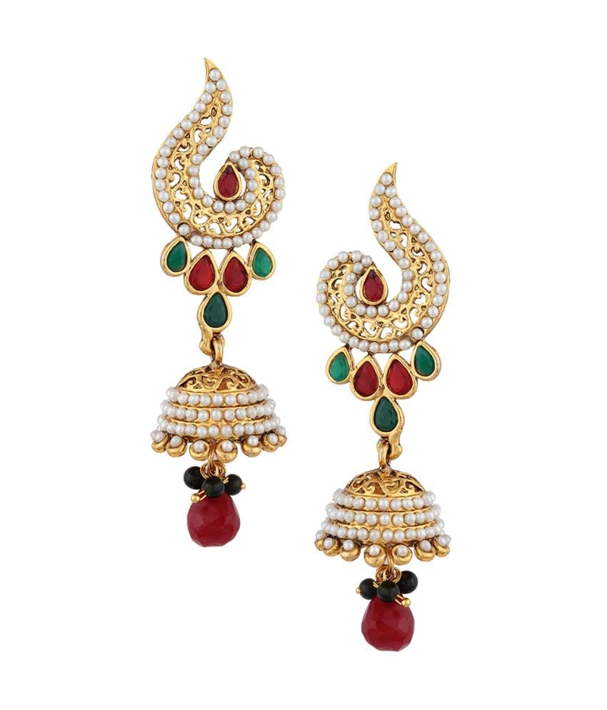 Adiva Multicolor Alloy Antique Jhumkis