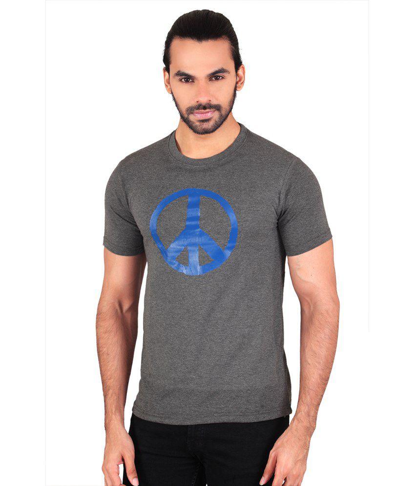 Anger Beast Gray Slim Fit Round Neck Half Sleeves T-Shirt