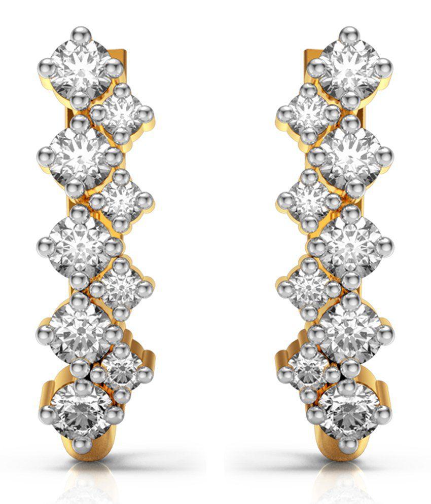 Charu Jewels Golden Diamonds Hoops Earrings