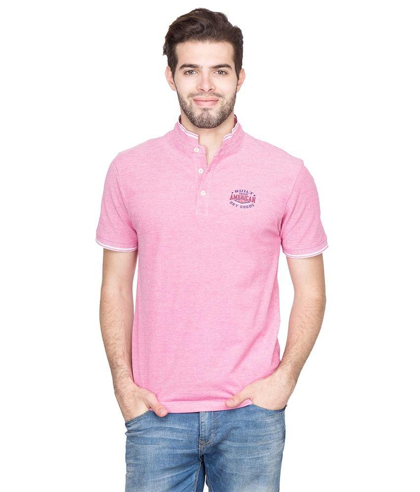 Fort Collins Pink Cotton Basics Half Sleeve Henley T-Shirt