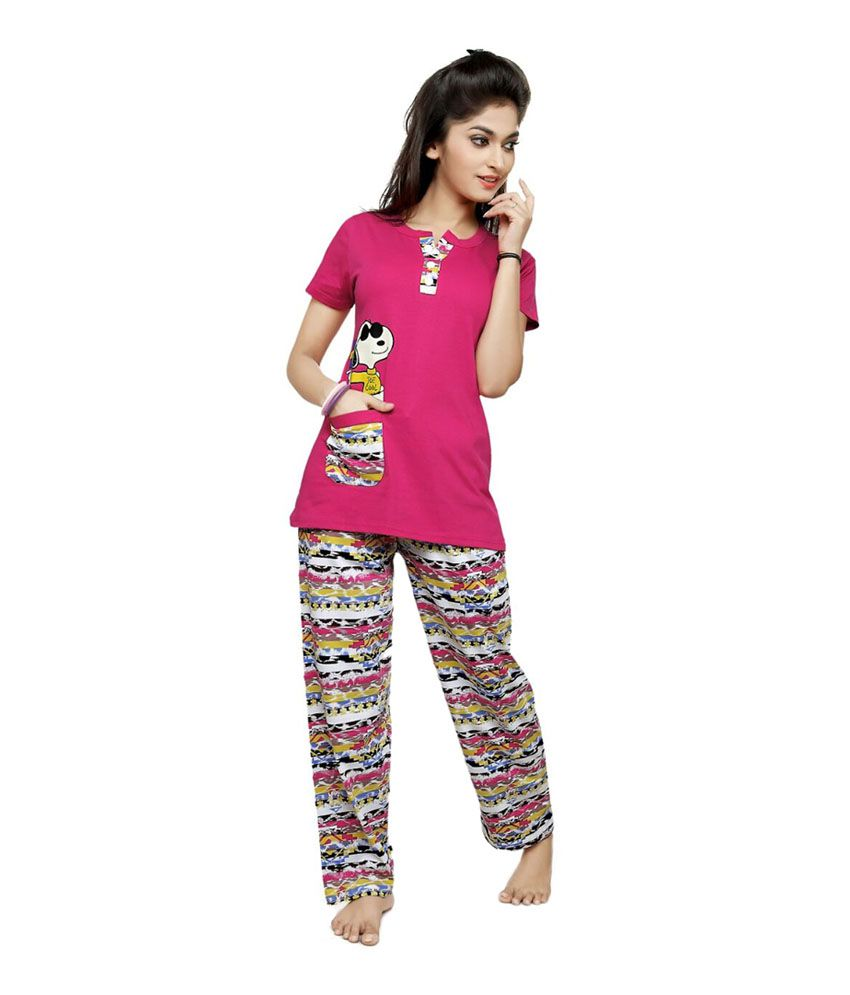 38a92802e8d9 Buy OAK Valley Purple Cotton Pajamas Online at Best Prices in India -  Snapdeal