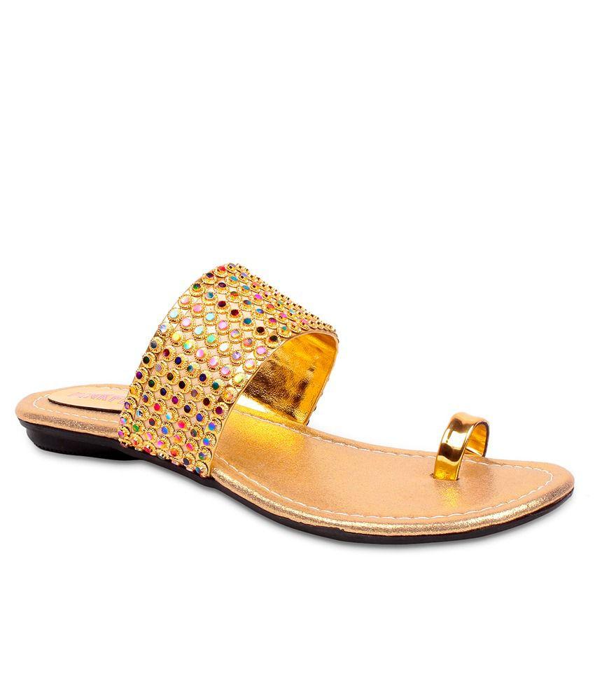 Pink Fever Golden Flat Slip-Ons