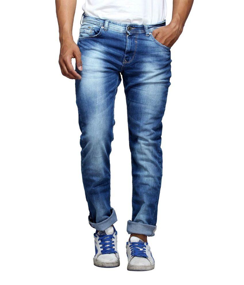 Spykar Blue Cotton Slim Fit Jeans