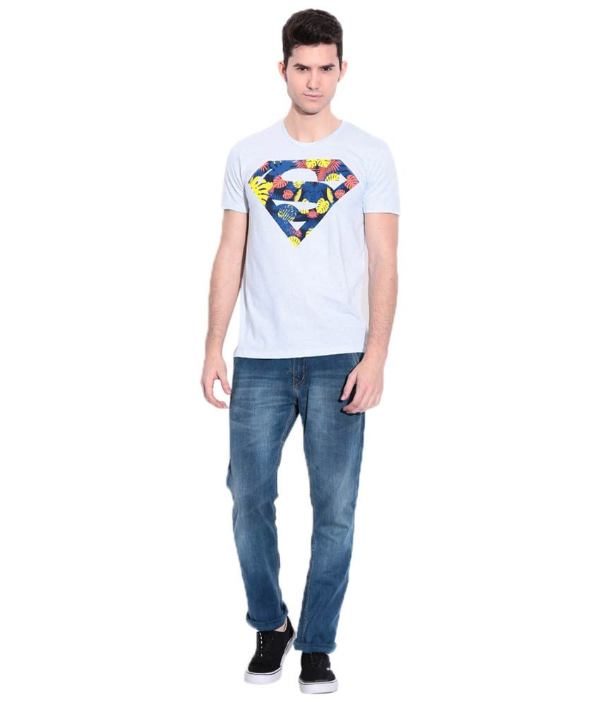 Superman Light Blue Graphic T-shirt For Men