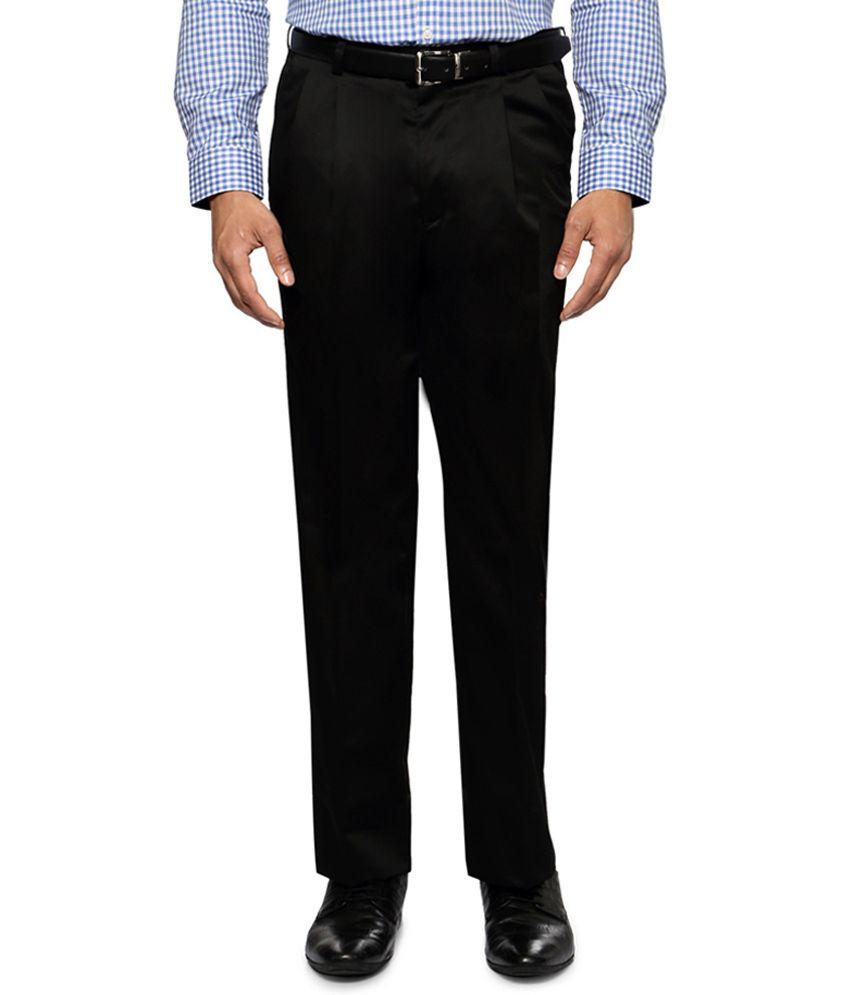 Van heusen black regular fit solid trousers buy van for Van heusen men s regular fit pincord dress shirt