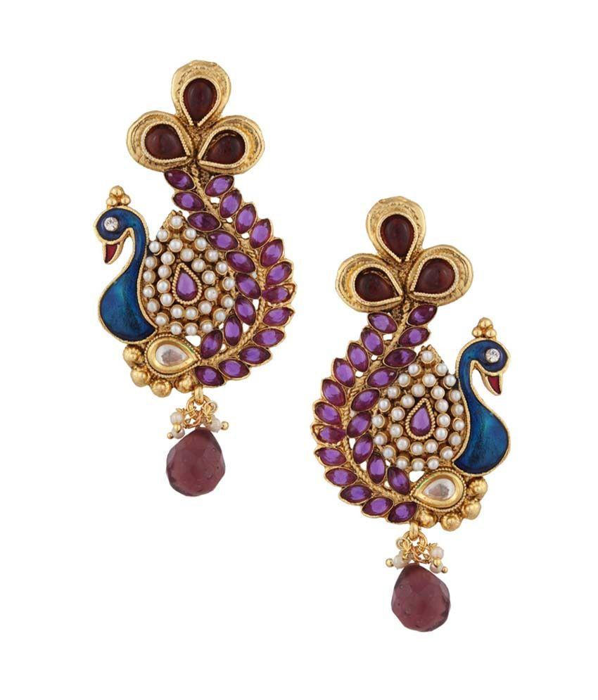 Adiva Purple Alloy Antique Drop Earrings