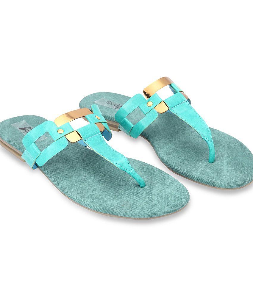 Glinchy Green Faux Leather Back Open Open Toe Flat Sandals