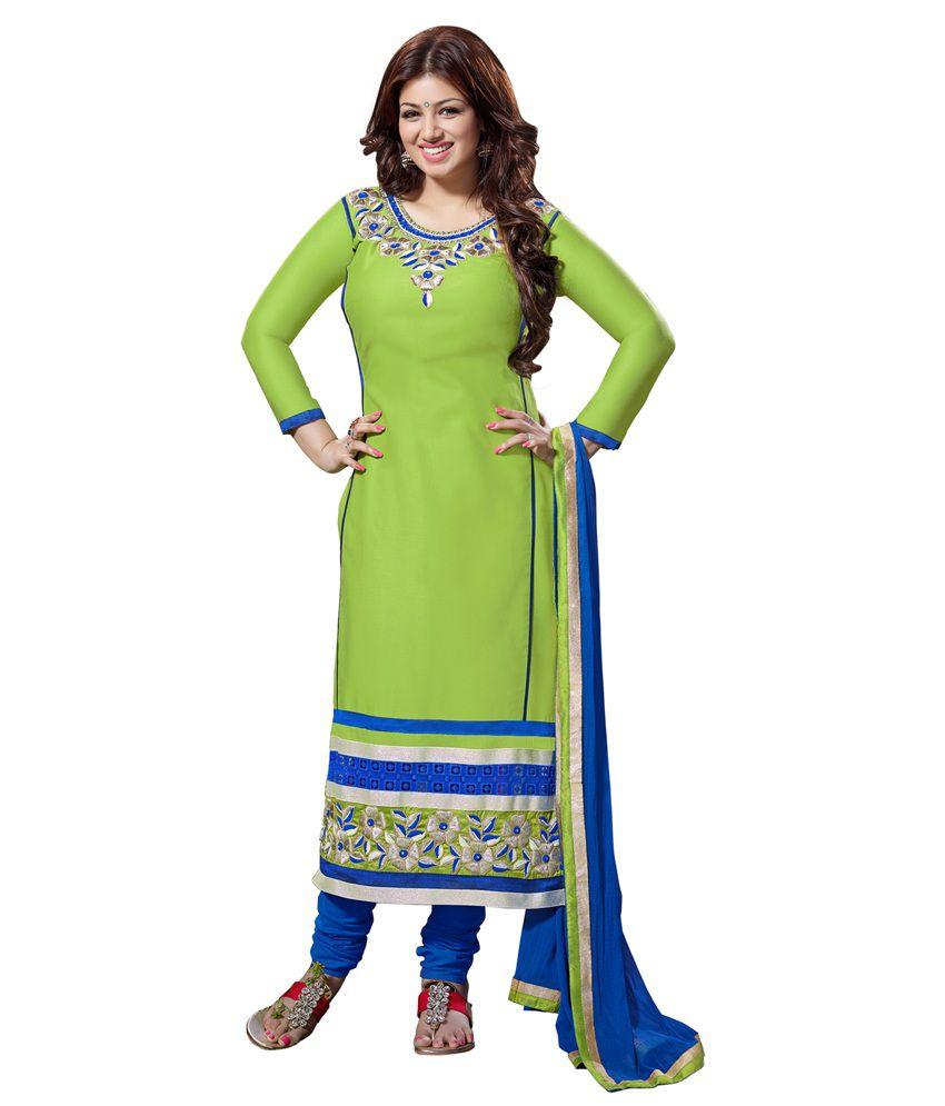 Jiya Cotton Dress Material - Green