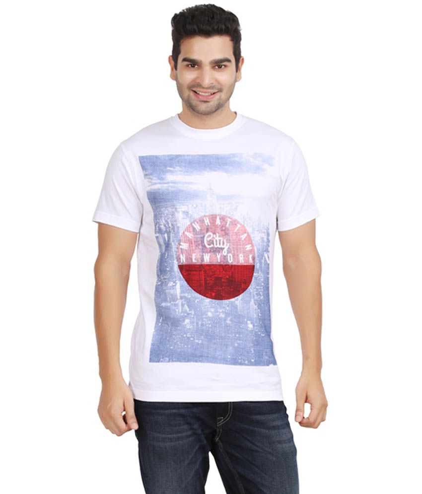 kryo White Cotton Manhattan Round Neck T-Shirt