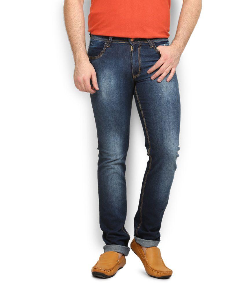 Police Blue Cotton Slim Jeans