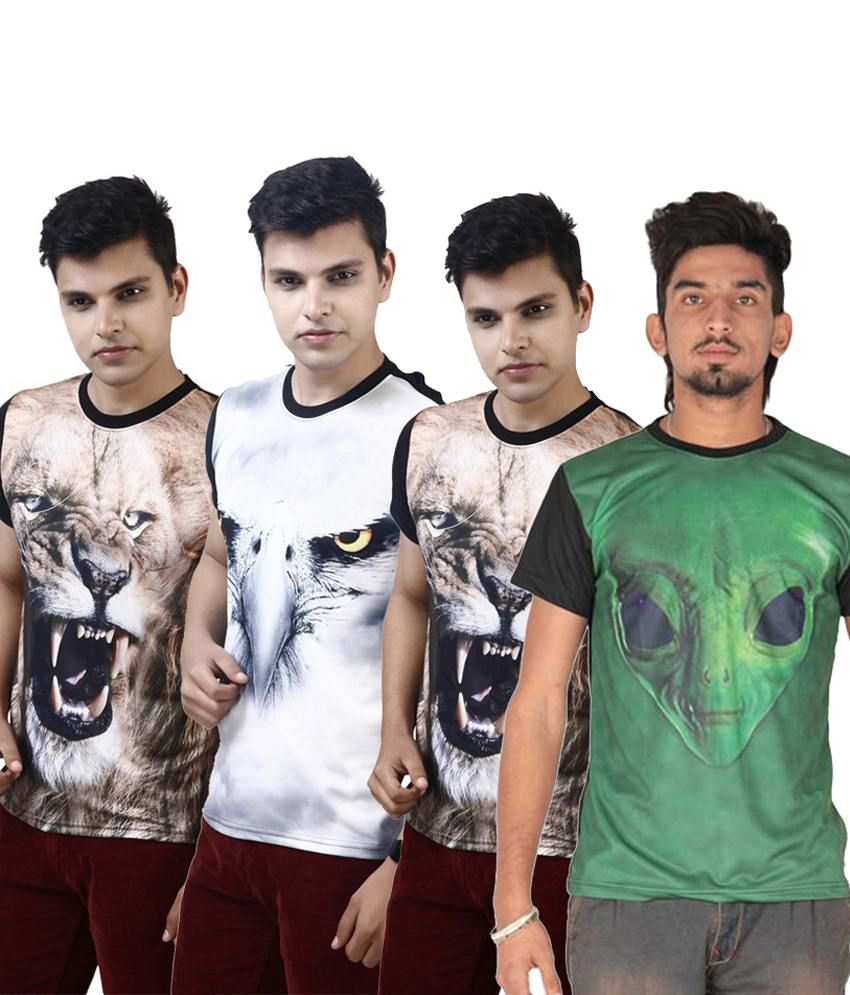Posh 7 Beguiling Multicolour Combo Of 4 3D Printed Casual T Shirts For Men
