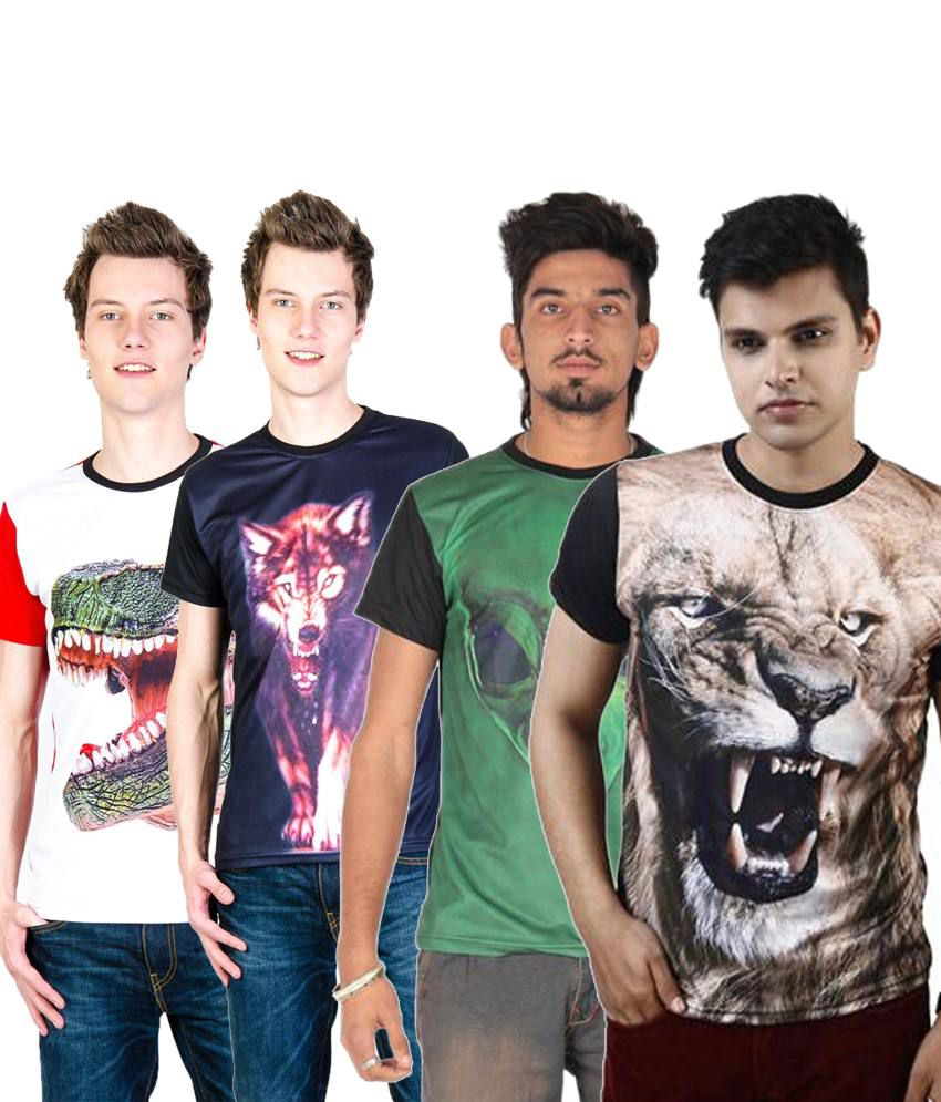 Posh 7 Fashionable Multicolour Combo Of 4 3D Printed Round Neck T Shirts For Men