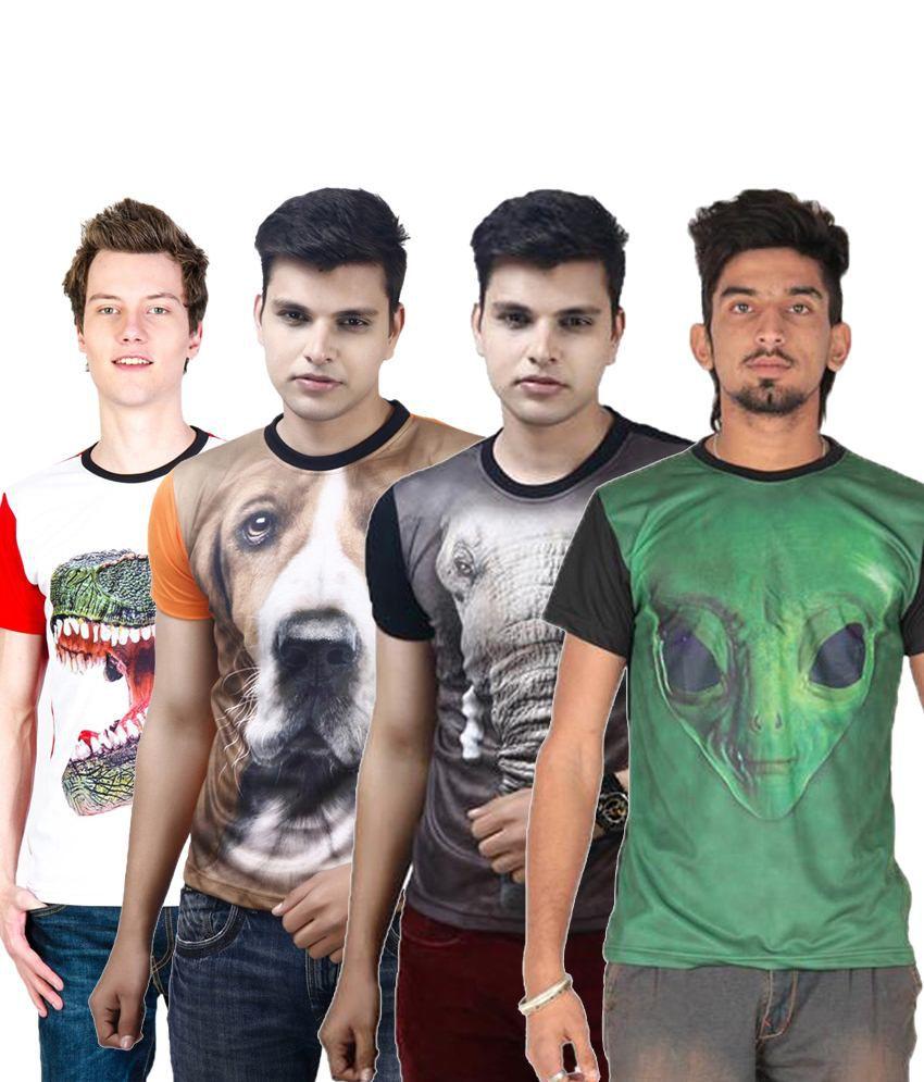 Posh 7 Tremendous Multicolour Combo Of 4 3D Printed Round Neck T Shirts For Men