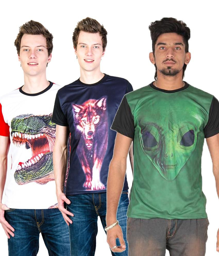 Posh 7 Trendy Multicolour Combo Of 4 3D Printed Round Neck T Shirts For Men