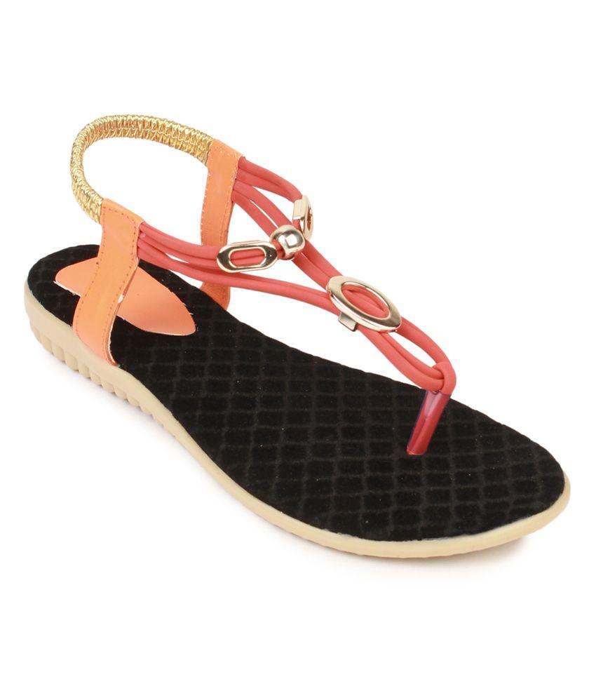 Queen Steps Orange Leather Flats
