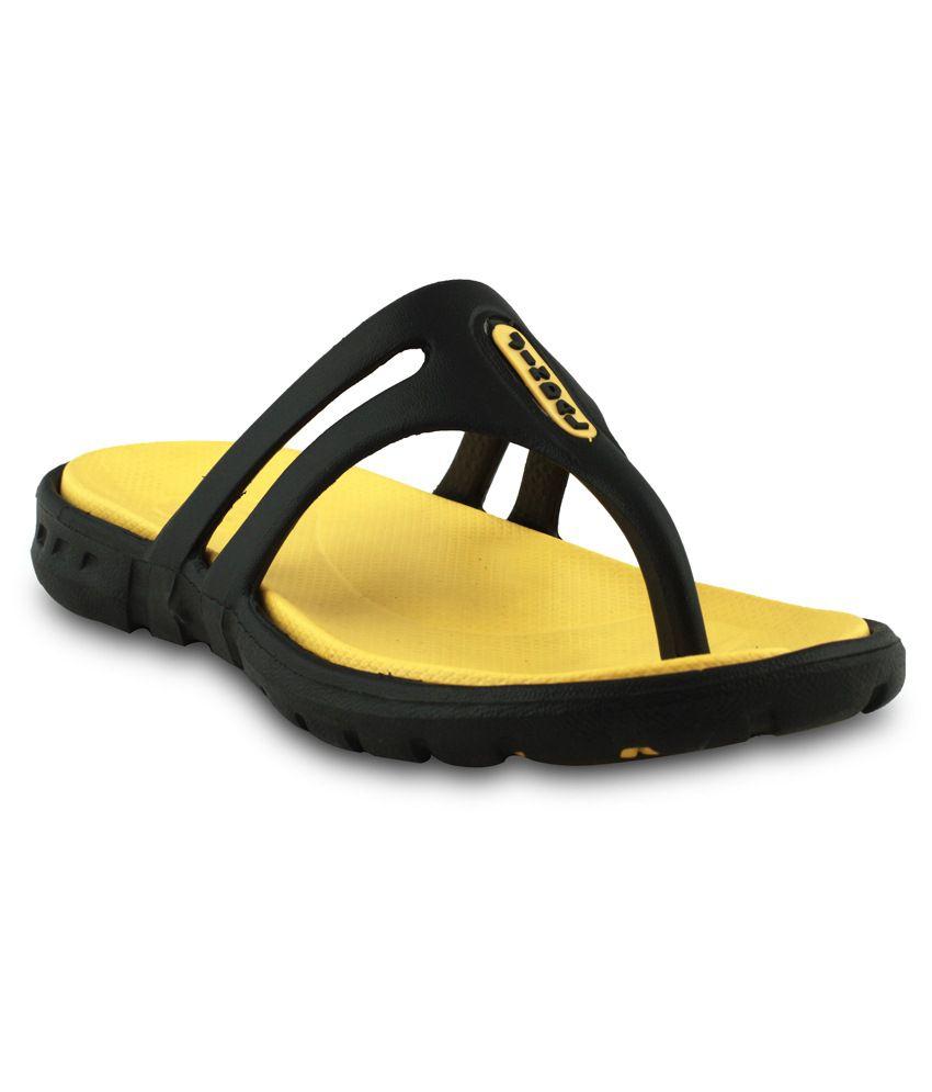 Amvi Yellow & Black EVA Slippers