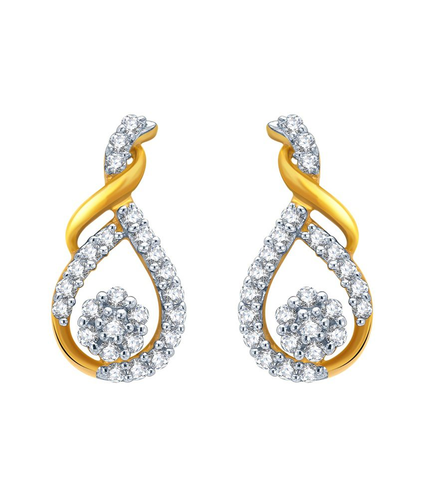KaratCraft 18Kt Diamond Studded gold Earrings