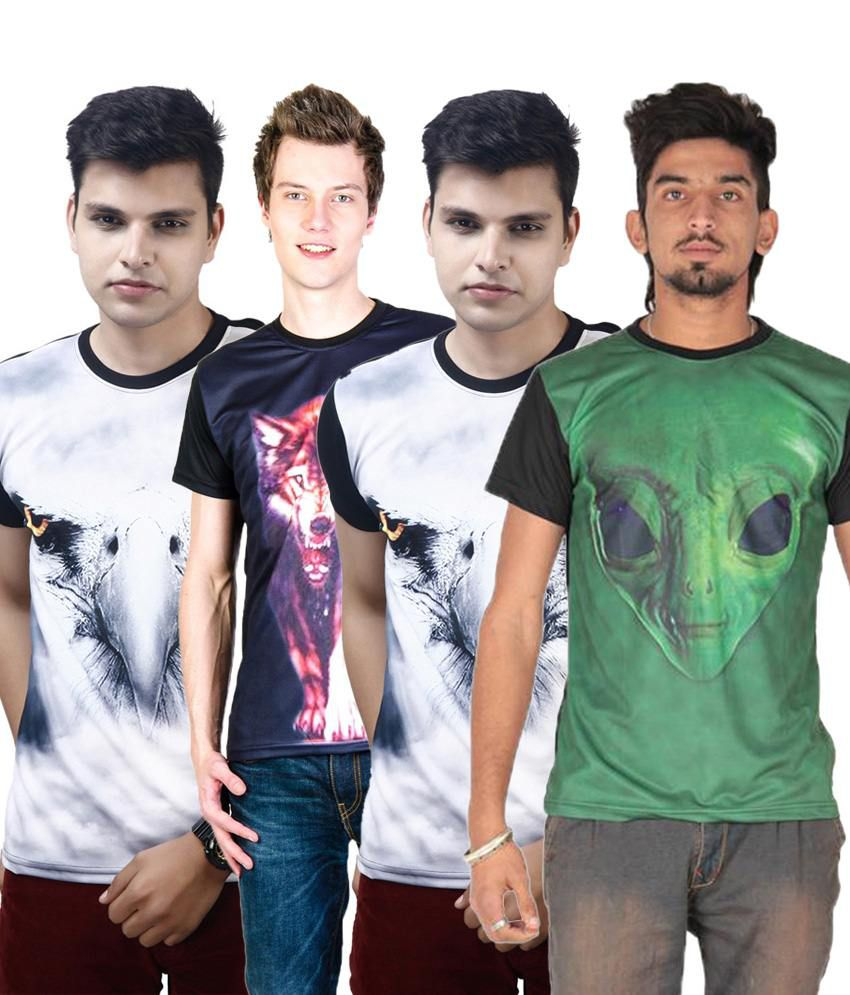 Posh 7 Lightweight Multicolour Combo Of 4 3D Printed T Shirts For Men