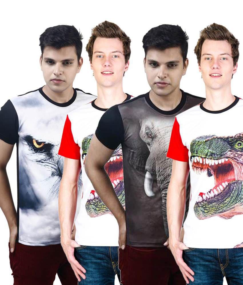 Posh 7 Trendy Multicolour Combo Of 4 3D Printed T Shirts For Men