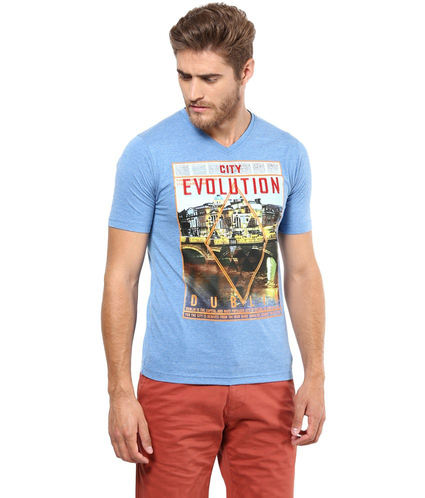 Poze Blue Cotton Printed T-Shirt