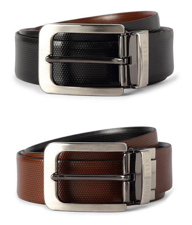 Van Heusen Black Reversible Textured Formal Belt