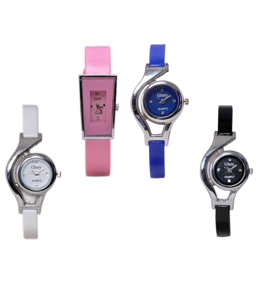 15328eba09 Glory Watch Combo For Women (White, Pink, Blue & Black) Price in India: Buy  Glory Watch Combo For Women (White, Pink, Blue & Black) Online at Snapdeal